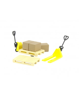 2 yellow pallet jacks, 2 pallets and 3 cardboard boxes