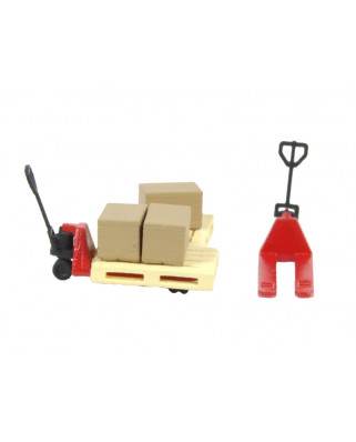 2 red pallet jacks, 2 pallets and 3 cardboard boxes