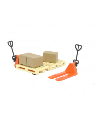 2 orange pallet jacks, 2 pallets and 3 cardboard boxes