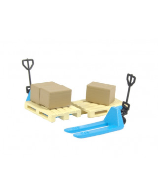 2 blue pallet jacks, 2 pallets and 3 cardboard boxes