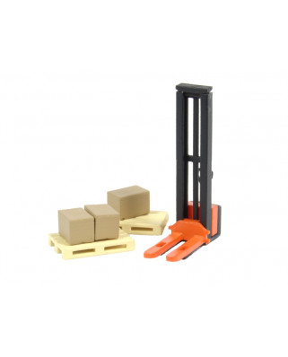 1 orange forklift, 2 pallets and 3 cardboard boxes