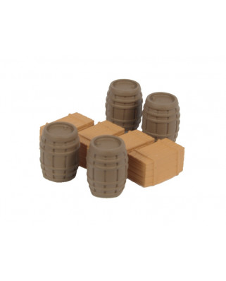 4 Oak barrels and 4 wooden boxes