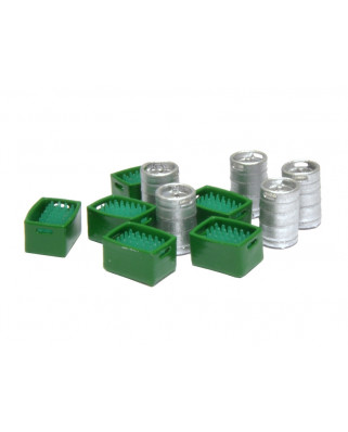 5 bier kegs and 6 green bottles in green boxes