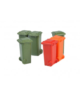 6 containers 100 l (Olive green, red, orange)