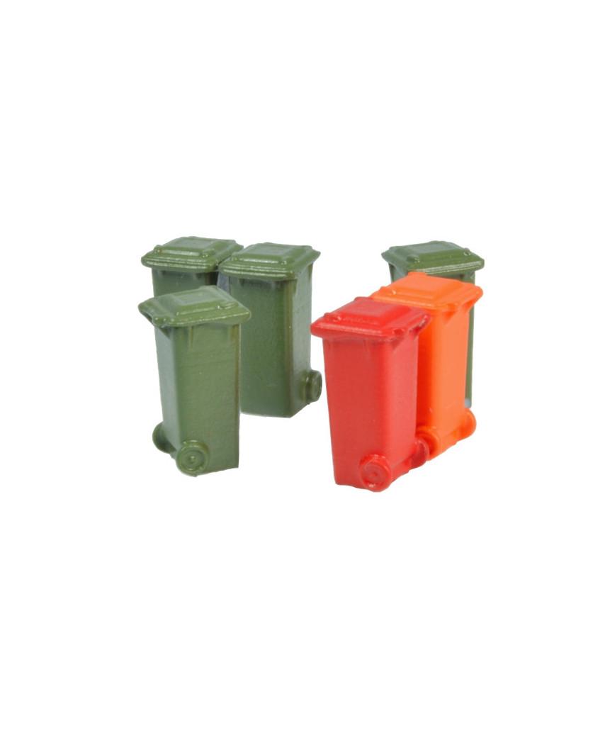 Container 100 l. -Olivgrün, Rot, Orange- (6 St.)
