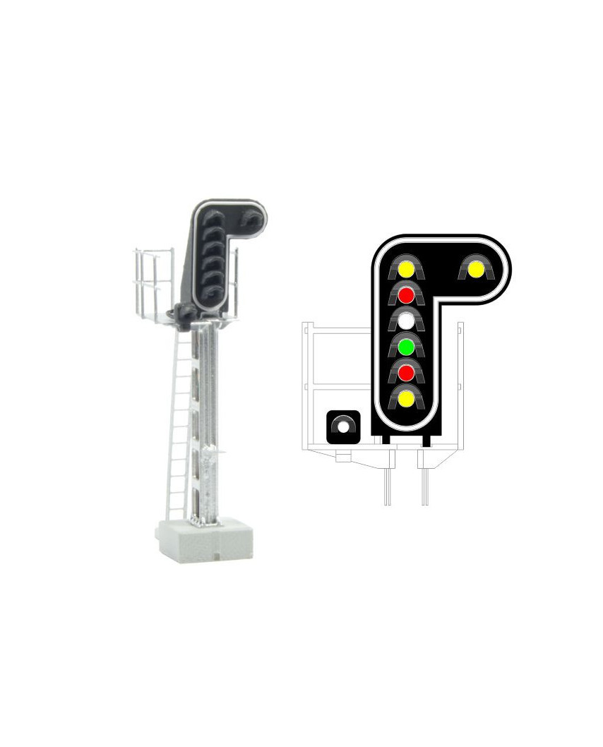 SNCF - Main signal with 8 LEDs (DoubleYellow/Red/White/Green/Red/Yellow/White)