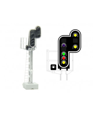 SNCF - Main signal with 7 LEDs (Purple/Green/Red/Yellow/White + DoubleYellow)