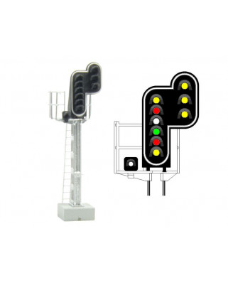 SNCF - Main signal with 10 LEDs (DoubleYellow/Red/White/Green/Red/Yellow/White + DoubleYellow)