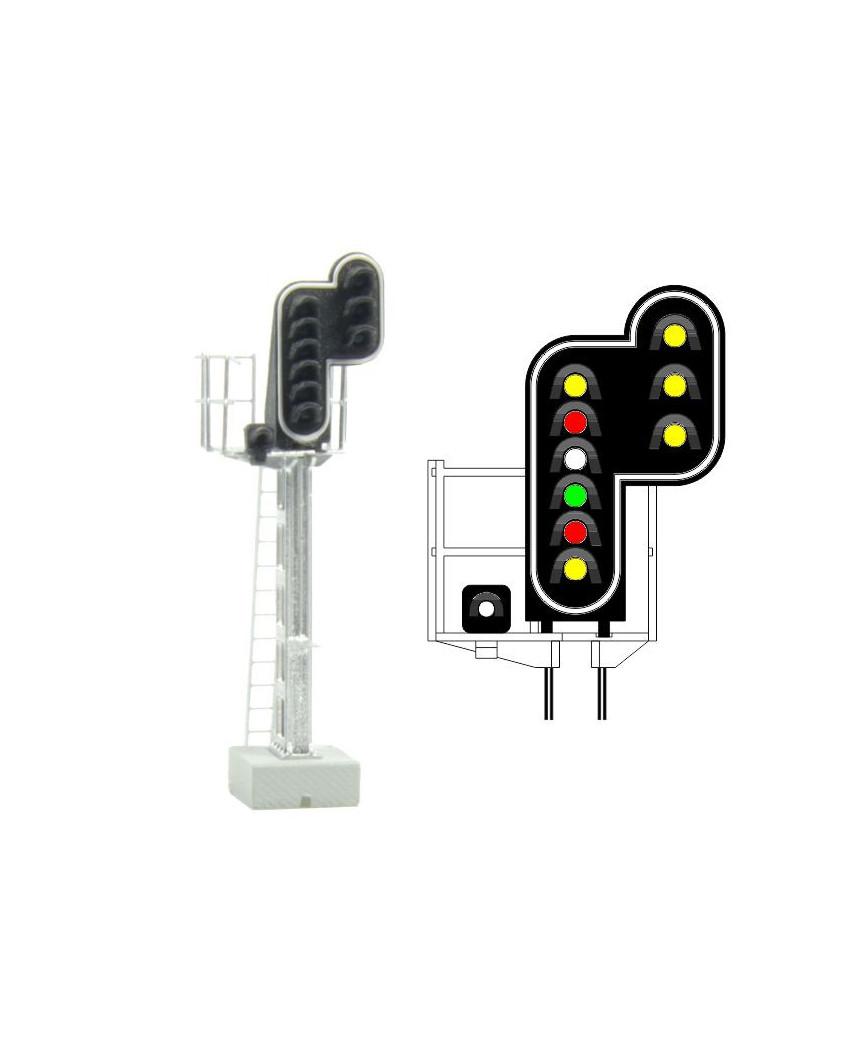 SNCF - Hauptsignal mit 10 LEDs (Doppelgelb/Rot/Weiss/Grün/Rot/Gelb/Weiss + Doppelgelb)