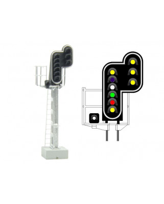 SNCF - Main signal with 10 LEDs (DoubleYellow/Purple/White/Green/Red/Yellow/White + DoubleYellow)