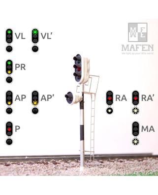RENFE - Signal principal avec 4 LEDs (vert/rouge/jaune/blanc)