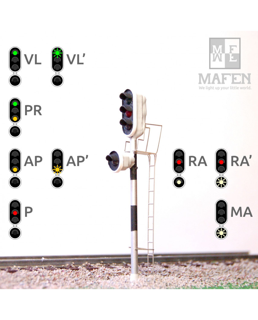 RENFE - Señal principal con 4 Leds (verde/rojo/ámbar/blanco)