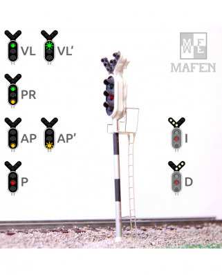 RENFE - Signal principal avec 8 LEDs (vert/rouge/jaune + double direction