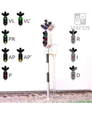 RENFE - Signal principal avec 10 LEDs (ver/rouge/jaune + triple direction