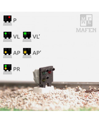 RENFE - Señal baja con 3 Leds (verde/yellow+rojo)