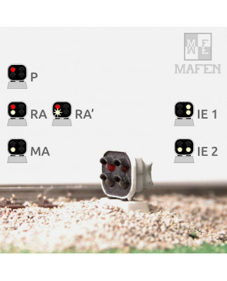 RENFE - Dwarf signal with 4 LEDs (Red/White+White/White)