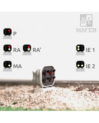 RENFE - Dwarf signal with 4 LEDs (White/White+Red/White)