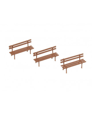 3 benches - brown