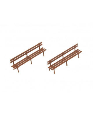2 long benches - brown