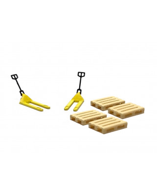 2 yellow pallet jacks and 4 pallets
