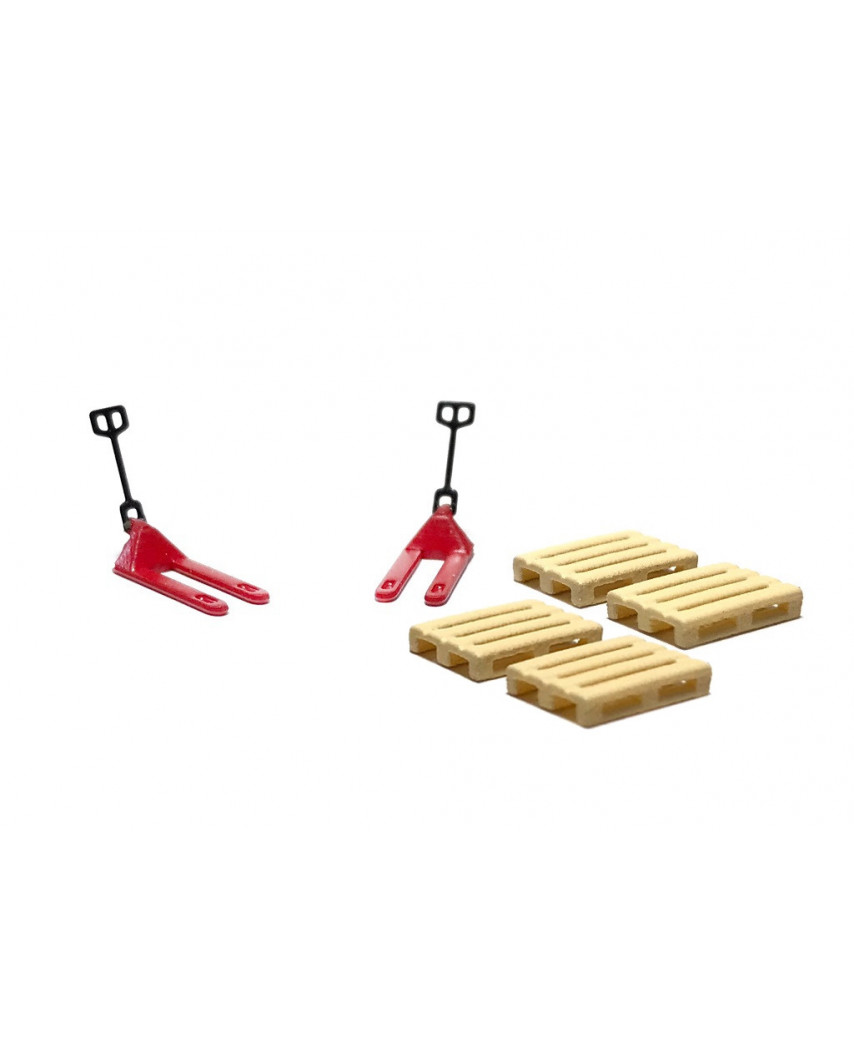 2 red pallet jacks and 4 europallets