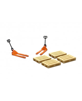 2 orange pallet jacks and 4 europallets