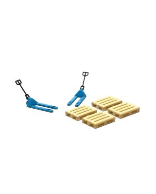2 blue pallet jacks and 4 europallets