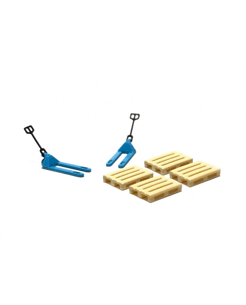 2 blue pallet jacks and 4 europallets