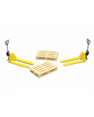 2 yellow pallet jacks and 2 europallets