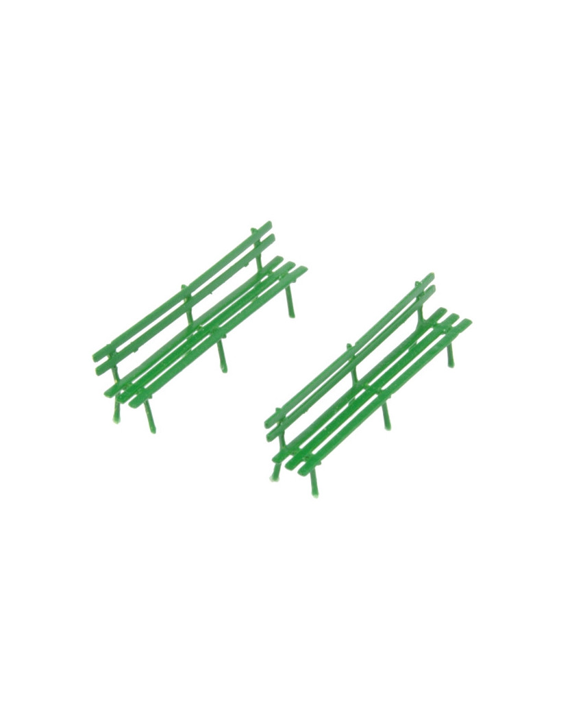 2 long benches - green