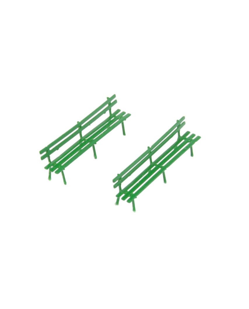 2 bancs longs en laiton - grün