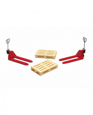 2 red pallet jacks and 2 europallets