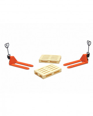 2 orange pallet jacks and 2 europallets