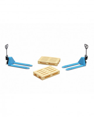 2 blue pallet jacks and 2 europallets