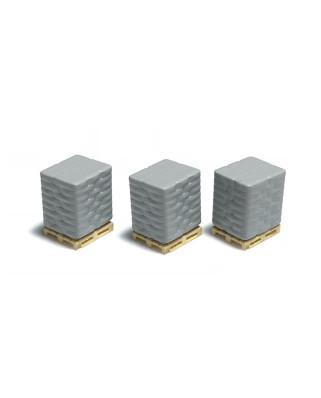 3 Paletten mit Zementsacken - Grau