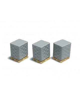 3 pallets with cement sacks - gray