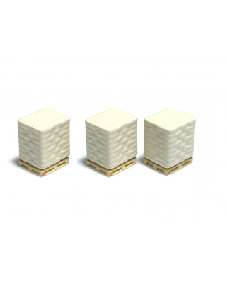3 pallets with cement sacks - white