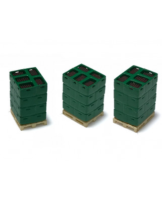 3 pallets with bottle boxes - green/brown