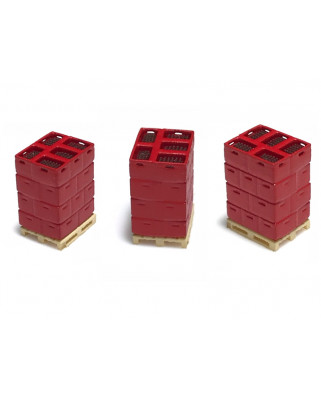 3 pallets with bottle boxes - red/brown