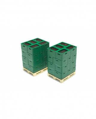 2 pallets with bottle boxes (green)