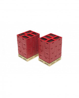 3 pallets with bottle boxes (red)