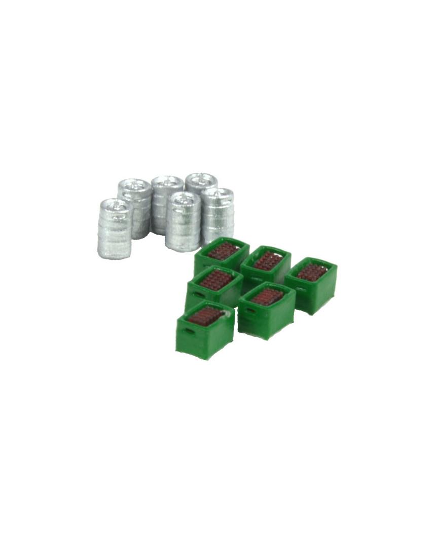 6 barriles de cerveza y 6 cajas verdes con botellas marrones