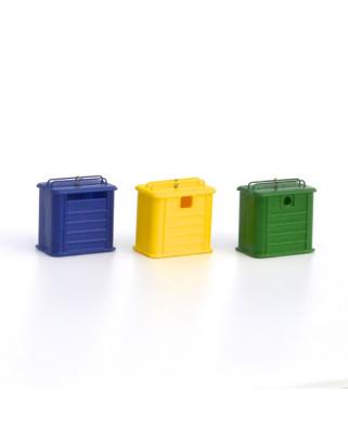 3 contenedores de reciclaje - tipo metálico
