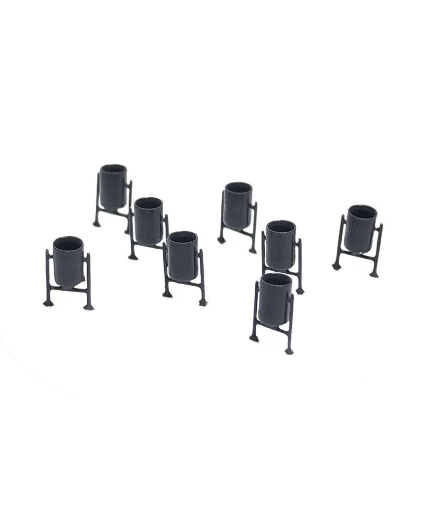 N | 8 metal bins (dark grey)