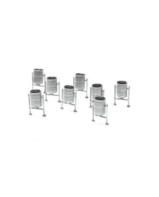 N | 8 metal bins (silver)