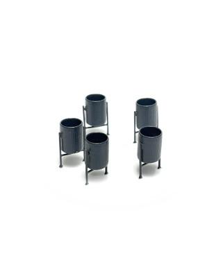 H0 | 5 metal bins (dark grey)