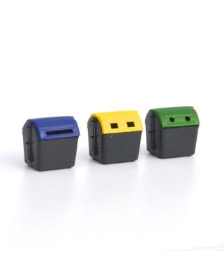 3 contenedores de reciclaje modernos