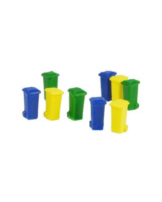 9 contenedores de 100 L (verde, azul y amarillo)