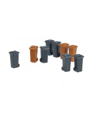9 contenedores de 100 L (gris y marrón)