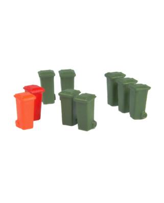 9 contenedores de 100 L (verde oliva, rojo, naranja)